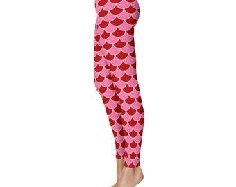 Valentine's Day Mermaid Leggings, Red and Pink Yoga Pants, Dragon Scales, Mermaid Scales, Fish Scales, Leggings Tights