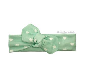 Baby Headband / Toddler Headband / Baby Shower / Baby Bow / Newborn Gift /Baby Gift / Mint Hearts Headband