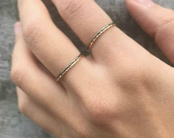 Stacking Ring / Minimal / Delicate / Silver 925 / Diamond Cut / Jewelry / Gift For Her / Women Gift Idea / Romantic / Easter Gift