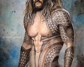 Jason Momoa Aquaman Justice League Marvel Original Watercolor painting fine art