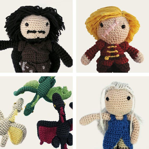 Game of Thrones Pack: Jon Snow, Tyrion Lannister, Daenerys, & Dragons. Amigurumi Patterns, PDF, DIY, Crafts, Crochet, Geek, Gift, TV Series