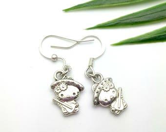 Hello Kitty Earrings, Hello Kitty,  Girl's Jewelry, Drop Earrings, Dangle Earrings, Cat Earrings,  Cartoon Earrings