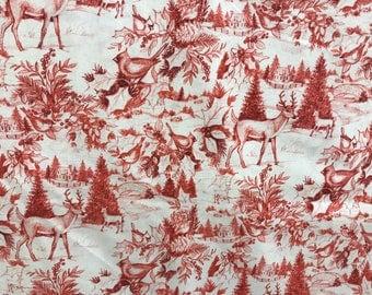 Winter snowy forest deer scene fabric, deer fabric, forest animals, animal fabric, snowy fabric, Christmas fabric, woodland animals, holiday