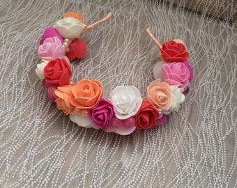 Floral handmade hairband with foam roses and colorful beads.  For special occassions wedding party hen party and birthday
