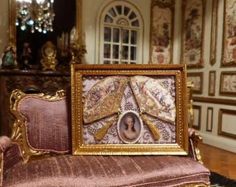 """Miniature painting """"Marie Antoinette"""" """"Fans"""" Reproductions time XVIII - 1/12 scale - Dollhouse decor accessory"""