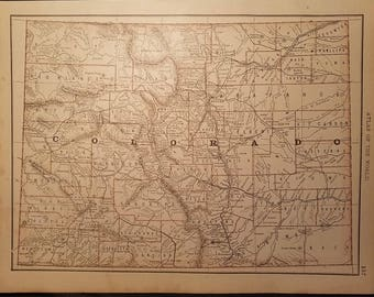1888 Map of Colorado & New Mexico, Original Antique Color Double Sided Map by Rand McNally