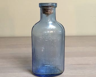 Early Cork-Top Milk of Magnesia Bottle, Early 20th Century Glass Bottle, Antique Aqua Glass Bottle