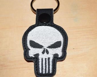 Punisher key fob key chain zipper pull bag tag.