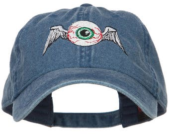 Flying Eyeball Embroidered Washed Cap
