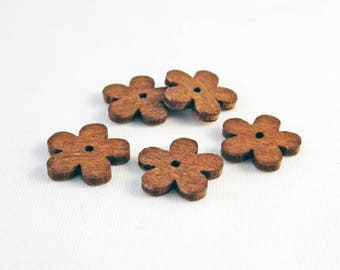 PBB19 - Set of 15 wooden beads in the shape of flowers Brown tab Spacer