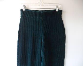 Velvet Corduroy 80's high rise-waist stir-up pants// Vintage Curiosity Cat// Teal hunter green ribbed leggings// Women M L medium large