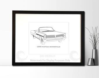 1966 Pontiac Bonneville Convertible Picture, Framed, Digital Art, Cars