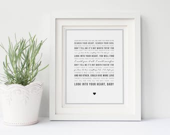 Bryan Adams 'Everything I Do' Song Lyric Print, Typographic Song Lyrics, Music Gift - Gift idea for her, Can be personalised, digital option