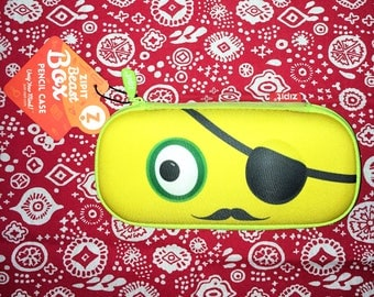 NWT, ZIPIT Beast Box Pencil Case in Yellow, Eye-Patch Pirate Face with Mustache.  Hard Outer Shell Pencil Box.