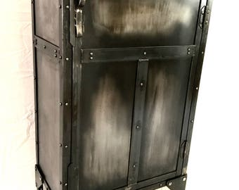 Black and gray modern industrial liquor cabinet, vintage storage cabinet/ black nightstand /steel locker/side table/pantry/kitchen cabinet