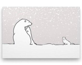 Digital art print of the polar bears and the arctic fox, art print of white bear, art print polar bears, grey background