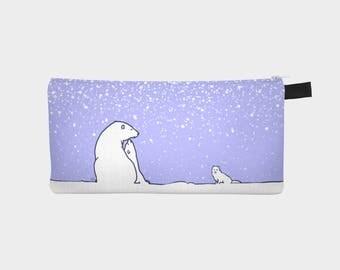 Pencil case! Original digital painting. The polar bear family and the arctic fox. Blue version.