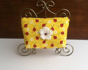 Ladybug Cosmetic Bag, Lady Bug Make Up Bag, Colorful Cosmetic Bag, Yellow Cosmetic Bag, Ladybug Makeup Pouch, Lady Bug Cosmetic Pouch Purse