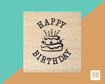 Happy Birthday Cake - 3cm Rubber Stamp (DODRS0125)