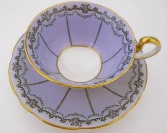 Aynsley antique doris mauve black stripe art deco tea cup and saucer