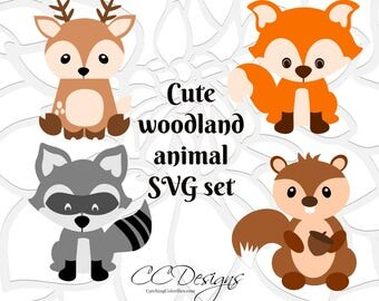 Cute Baby Woodland Forest Animals, SVG Cut Files, Deer Cut Files, Cute Baby Fox SVG files