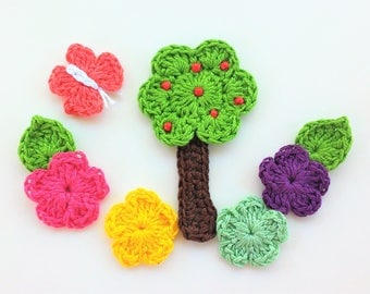 6 applique flowers, tree and butterflies in crochet - 6 handmade Crochet flowers, tree and butterfly appliques - 6 au crochet appliques -