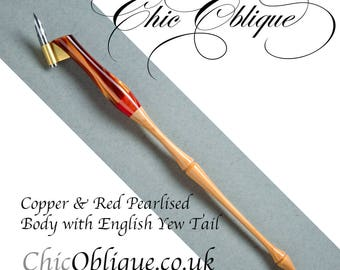 Oblique pen holder, Copper and Red Pearlised Body with English Yew Tail