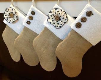 4 Quilted White Burlap Stockings - Button and Flower Brown Burlap Stocking - Name Tag Option - Personalized Burlap Stocking