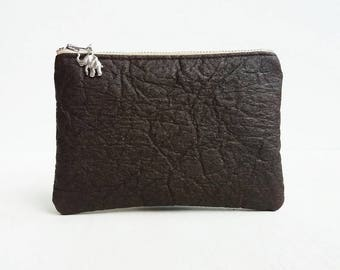 Vegan leather Pinatex womens wallet / large coin purse / elephant purse