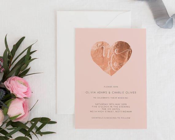 Hochzeitseinladung herz rosa