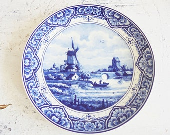 Vintage wall plate Delft Holland windmill wall planters