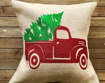 Rustic Christmas Pillow|| Burlap Christmas Pillow|| Burlap pillow|| Christmas Pillow|| Rustic Pillow