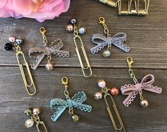SWEET BLISS BOW Tassel and coordinating three  Bead Planner Clip