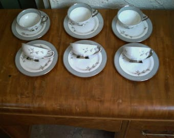Syracuse China, Harmony Pattern , Set of 6  Tea/Coffee Cups, and Saucers Made In America, Mid Century