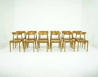 309-162 Danish Mid-Century Modern Beech Stackable Chair Kitchen Dining (12)