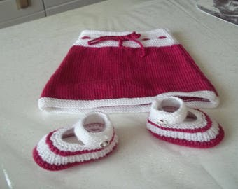skirt and booties - handmade knit baby 0/3 months-