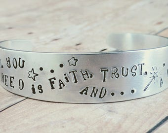 Quote Bangle, Quote Bracelet, Peter Pan Quote, Walt Disney Quote, Jewelry, Aluminum Bangle, Handstamped Bangle, Custom Stamped, Bangles