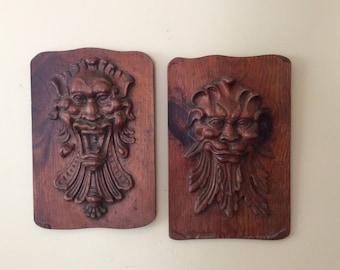 Vintage Hand Carved Wood Enkeboll Wall Hanging Wood Art Set Of 2 Excellent  Asian