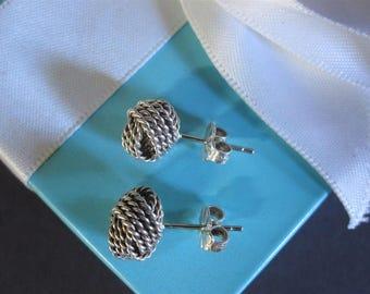 Tiffany & Co Somerset Twist Love Knot Stud Earrings Sterling Silver Box   (1135)