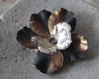 Brosche-vintage - brooch, handmade handmade-Vintageschmuck - flower, flower, from the 60s, filigree,.