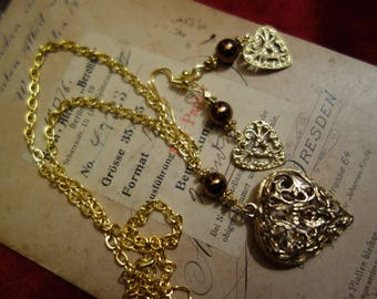 Old and new-jewelryset necklace and earrings-vintage chain pendant with new elements and new earrings with hearts