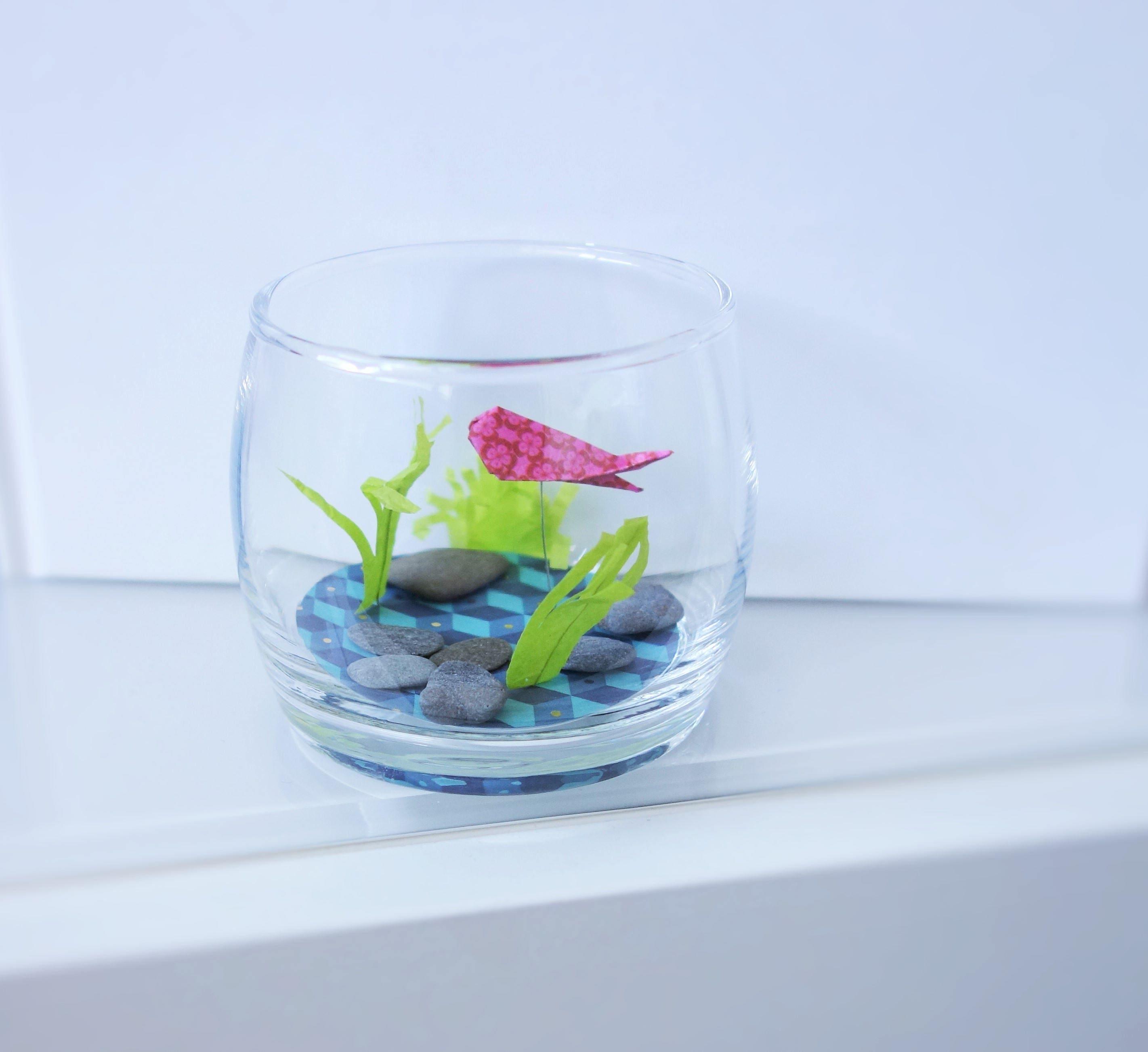 f te des p res aquarium et joli poisson rouge origami. Black Bedroom Furniture Sets. Home Design Ideas
