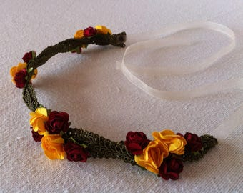 Yellow and Red Rose Flower crown