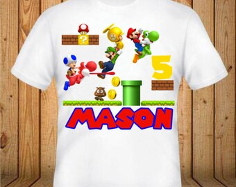 Super Mario Birthday Shirt - kids Birthday Shirts - Personalized Shirts - Custom Shirts - Kids - Birthday Shirts-