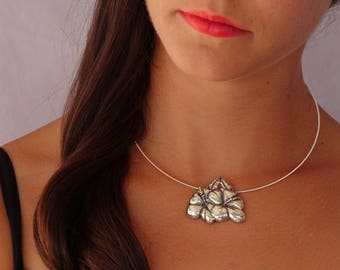 Hibiscus Blooms Pendant - Sterling Silver
