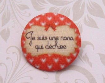 x 1 28mm fabric button I'm a girl who rocks ref A30