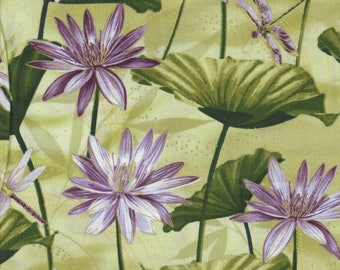 Maria Kalinowski - Dance of the Dragonfly - Per Yd - Benartex - Kanvas - Floral on Green - More yardage just arrived!