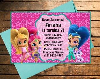 Downloadable Shimmer & Shine Themed Birthday Invitation