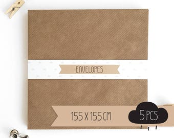 Envelope square / kraft brown / 15,5 x 15,5 cm / 5 pieces
