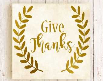 Give Thanks Vinyl Decal, Give Thanks Sticker, Pumpkin Decal, Door Decal, Fall Decor, Thanksgiving Decal, Thanksgiving Decor